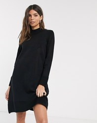 Esprit Ribbed High Neck Knitted Dress Black