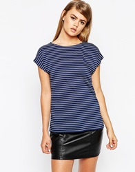 Fred Perry Stripe Boatneck T Shirt Navy