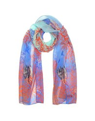 Mila Schon Light Blue Coral Reef Printed Chiffon Silk Stole
