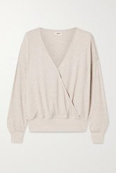 L'agence Amber Ribbed Modal Blend Wrap Top Cream