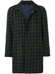 Manuel Ritz Houndstooth Single Breasted Coat Green