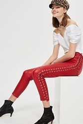 Topshop Premium Leather Side Lace Up Trousers Red