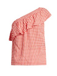 Velvet By Graham And Spencer Haley One Shoulder Gingham Top Red White