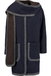 See By Chloe Wool Blend Hooded Coat Midnight Blue