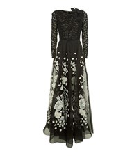 Andrew Gn Floral Embellished Maxi Gown Female Black