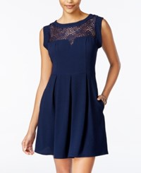 Speechless Juniors' Lace Trim Pleated Dress Navy
