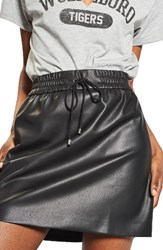 Topshop Women's Drawstring Faux Leather Skirt Black