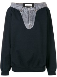 Night Market Denim Detail Patchwork Sweatshirt Black