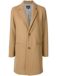 A.P.C. Straight Button Up Coat Polyamide Viscose Wool Nude Neutrals