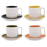 Orla Kiely Raised Stem Espresso Cup Assorted Set Of 4
