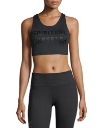 Spiritual Gangster Collegiate Tech Performance Sports Bra Black