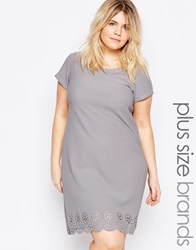 Praslin Plus Size Shift Dress With Laser Cut Hem Gray