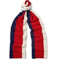 Gucci Striped Wool Scarf Blue