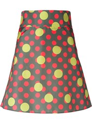 Red Valentino Polka Dot Print A Line Skirt Green