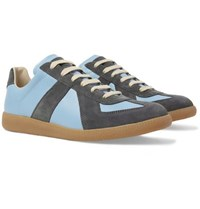 Maison Martin Margiela Replica Leather And Suede Sneakers Light Blue
