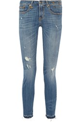 R 13 R13 Alison Crop Distressed Mid Rise Skinny Jeans Mid Denim