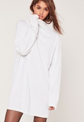 Missguided Ribbed High Neck Oversized Dress White White