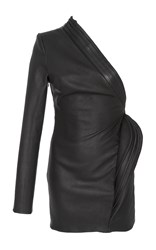 Brandon Maxwell Leather One Sleeve Mini Dress Black