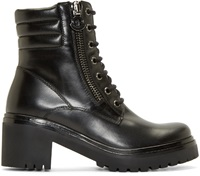 Moncler Black Leather Viviane Combat Boots