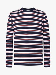 Jaeger Long Sleeve Breton Stripe T Shirt Navy