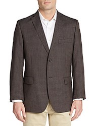 Saks Fifth Avenue Slim Fit Messina Checkered Wool Sportcoat Tan