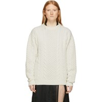 Ann Demeulemeester Off White Wool Cable Knit Sweater