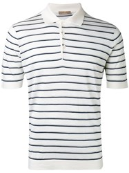 Cruciani Striped Polo Shirt Men Silk Linen Flax 54 White
