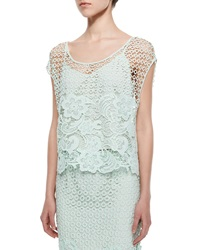 Andrew Marc New York Armor Lace Cap Sleeve Top