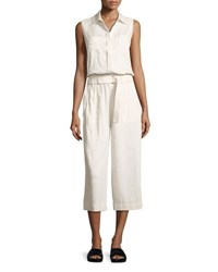 Vince Linen Blend Sleeveless Cropped Jumpsuit White