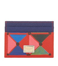 Dolce And Gabbana Grained Leather Card Holder Female Red
