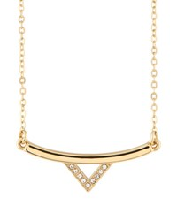 Rebecca Minkoff 12K Gold Plated Crystal Bar Necklace No Color