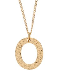 Burberry Hammered Letter Pendant Gold Plated Necklace Gold