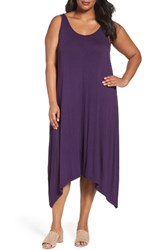 Sejour Plus Size Women's Jersey Sharkbite Hem Tank Dress Purple Eggplant