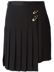 Versus Safety Pin Pleated Asymmetric Skirt Black