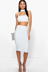Boohoo Choker Bandeau Cut Out Waist Midi Dress Ivory