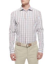 Kiton Plaid Woven Shirt Brown White