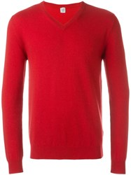 Eleventy V Neck Sweater Red