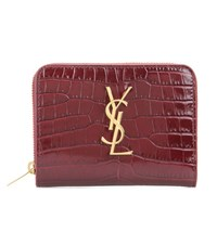 Saint Laurent Monogram Compact Leather Wallet Red