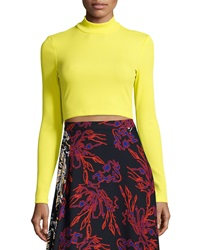 Tanya Taylor Ren Ribbed Mock Neck Crop Top