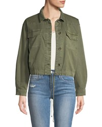 Ella Moss Button Down Military Style Cotton Jacket Green