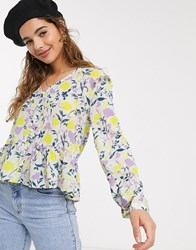 Jdy Shirt With Frill Hem In Floral Print Multi