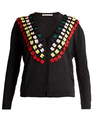 Marco De Vincenzo Bow Embellished Wool Cardigan Grey Multi