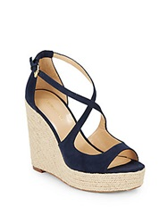 Saks Fifth Avenue Melody Espadrille Wedge Sandals Navy