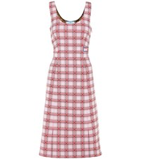 Prada Plaid Sleeveless Dress Pink
