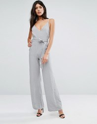 Oh My Love V Front Wide Leg Jumpsuit With Belt Gray