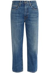 Vince Faded Mid Rise Straight Leg Jeans Mid Denim