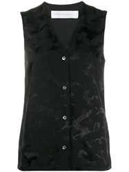 Victoria Beckham Animal Jacquard Sleeveless Shirt Black