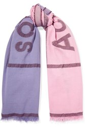 Acne Studios Vinnie Two Tone Embroidered Cotton Blend Scarf Pastel Pink