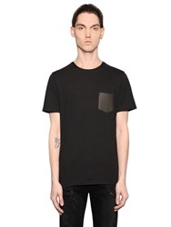 The Kooples Leather Patched Cotton Jersey T Shirt