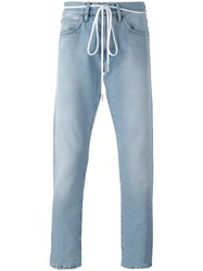 Off White 'Diagonal Spray' Slim Fit Jeans Blue
